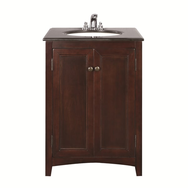 WYNDENHALL Windsor Walnut Brown 24-inch Bath Vanity with 2 Doors and Black Granite Top
