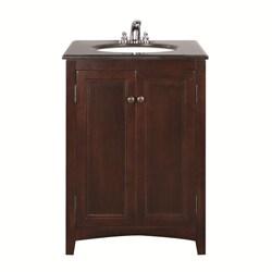 WYNDENHALL Windsor Walnut Brown 24-inch Bath Vanity with 2 Doors and Black Granite Top