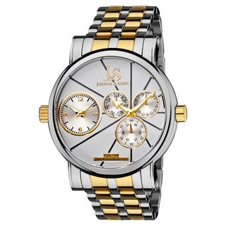 Joshua & Sons Men's Dual-Time Stainless Steel Quartz Two-Tone Watch