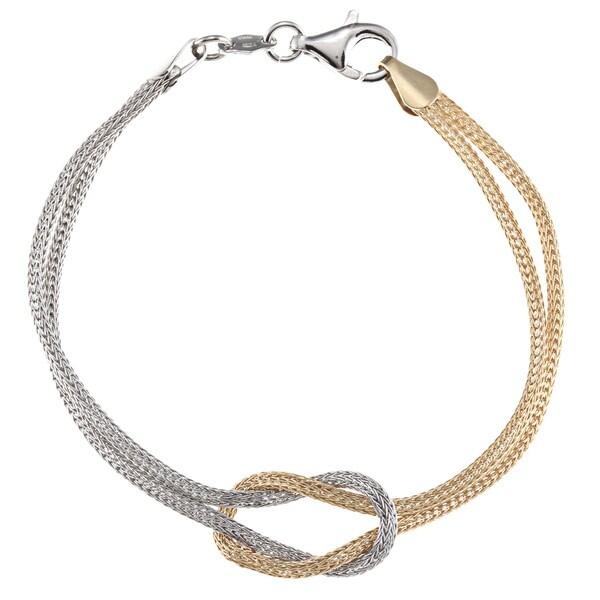 La Preciosa Two-tone Sterling Silver Love Knot Bracelet