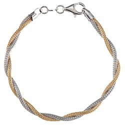 La Preciosa Two-tone Sterling Silver Twisted Double Strand Bracelet
