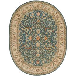 Safavieh Handmade Antiquities Mahal Blue/ Beige Wool Rug (4'6 x 6'6 Oval)