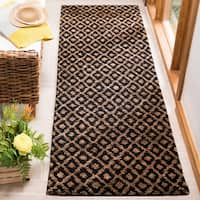 """Safavieh Hand-knotted Vegetable Dye Morocco Black/ Gold Rug - 2'6"""" x 12'"""
