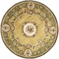 Safavieh Handmade Classic Light Gold/ Green Wool Rug (6' Round)