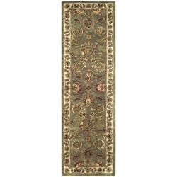 Safavieh Handmade Classic Heirloom Light Blue/ Ivory Wool Runner (2'3 x 8')