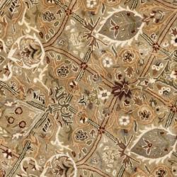 Safavieh Handmade Persian Legend Light Green/ Beige Wool Rug (3'6 Round) - Thumbnail 2