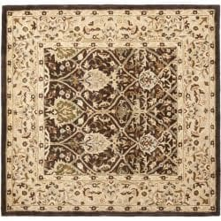 Safavieh Handmade Persian Legend Brown/ Beige Wool Rug (6' Square) - Thumbnail 0