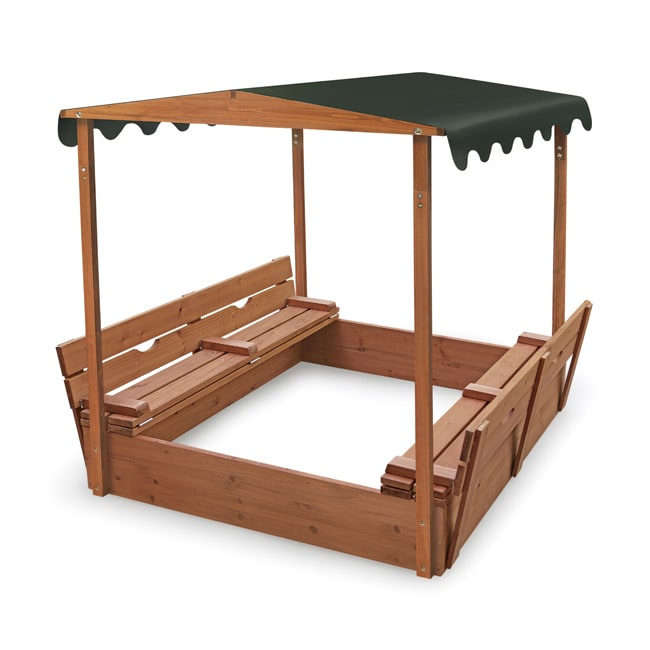 Badger Basket Covered Convertible Cedar Sandbox with Canopy - Thumbnail 0