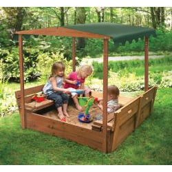 Badger Basket Covered Convertible Cedar Sandbox with Canopy - Thumbnail 2
