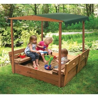Badger Basket Convertible Cedar Canopy Sandbox with 2 Bench Seats - 46.5 inches L x 46.5 inches W x 57 inches H