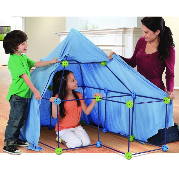 Discovery Kids Blue Plastic 77-piece Build and Play Construction Fort Set