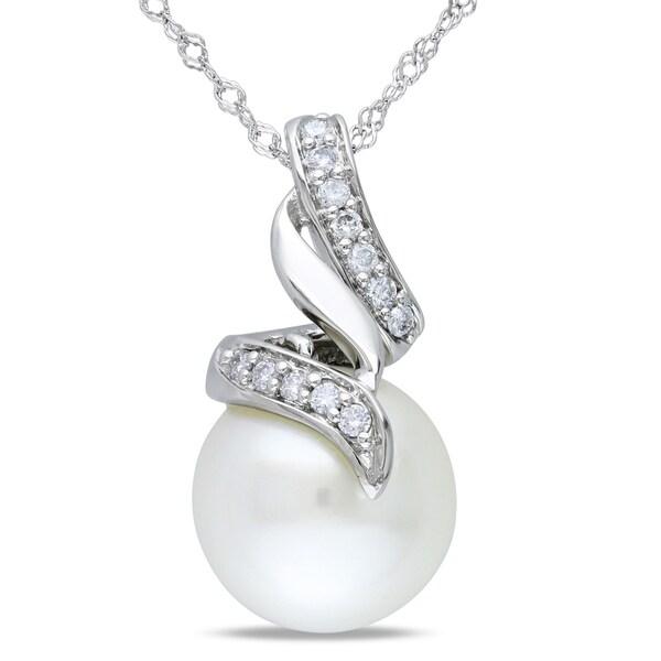Miadora 14k White Gold South Sea Pearl and 1/10ct TDW Diamond Necklace (G-H, I1-I2)