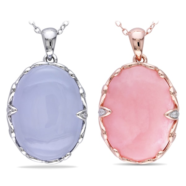 Miadora Rhodium Plated Silver Gemstone and Diamond Accent Necklace (H-I, I2-I3)