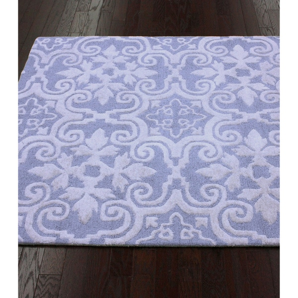 nuLOOM Handmade Spanish Tiles Light Blue Wool Rug (7'6 x 9'6)