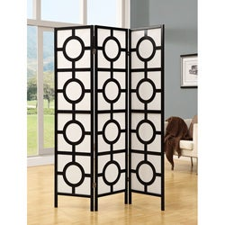 Black Frame 3-panel 'Circle Design' Folding Screen
