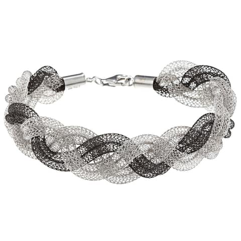 La Preciosa Sterling Silver Double Mesh Braided Bracelet