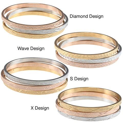 La Preciosa Tri-color Stainless Steel Designed Bangle Set
