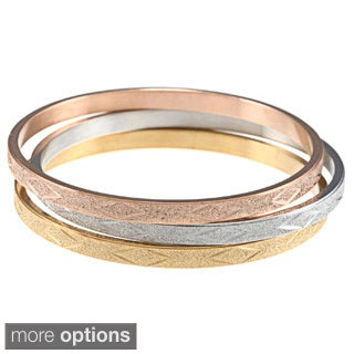 La Preciosa Tri-color Stainless Steel Designed Bangle Set