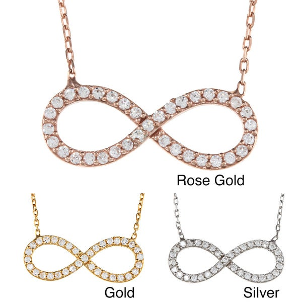 Shop La Preciosa Sterling Silver Cz Infinity Symbol Necklace On