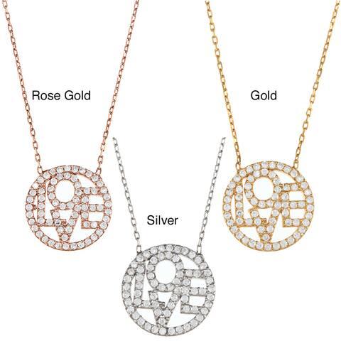 La Preciosa Sterling Silver CZ 'Love' Circle 17-inch Necklace