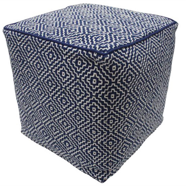 nuLOOM Handmade Casual Living Indian Diamond Navy Cube Pouf