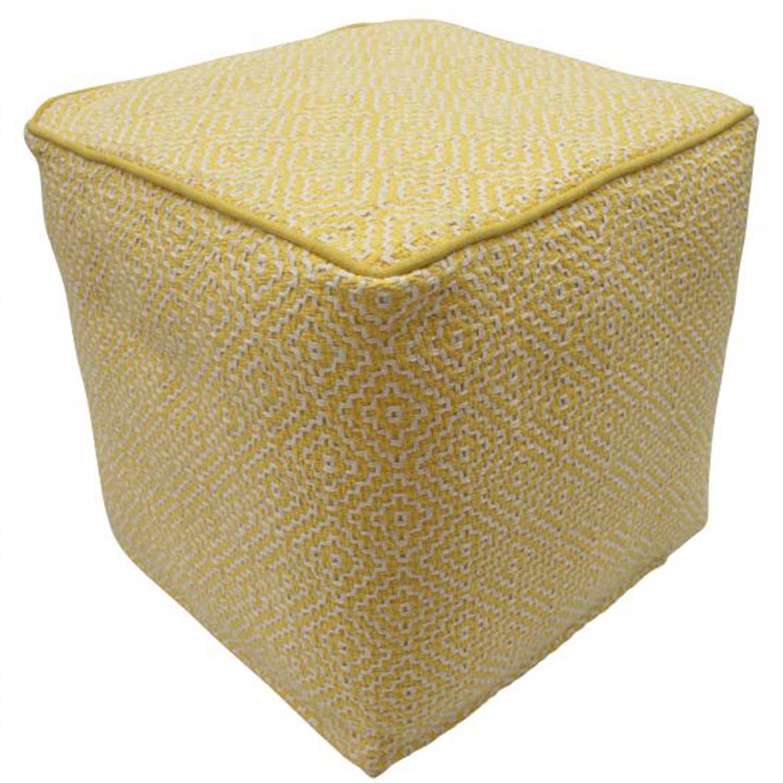 nuLOOM Handmade Casual Living Indian Diamond Yellow Cube Pouf