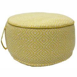 nuLOOM Handmade Casual Living Indian Diamond Yellow Round Pouf