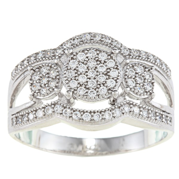 La Preciosa Sterling Silver Cubic Zirconia Triple Circle Ring