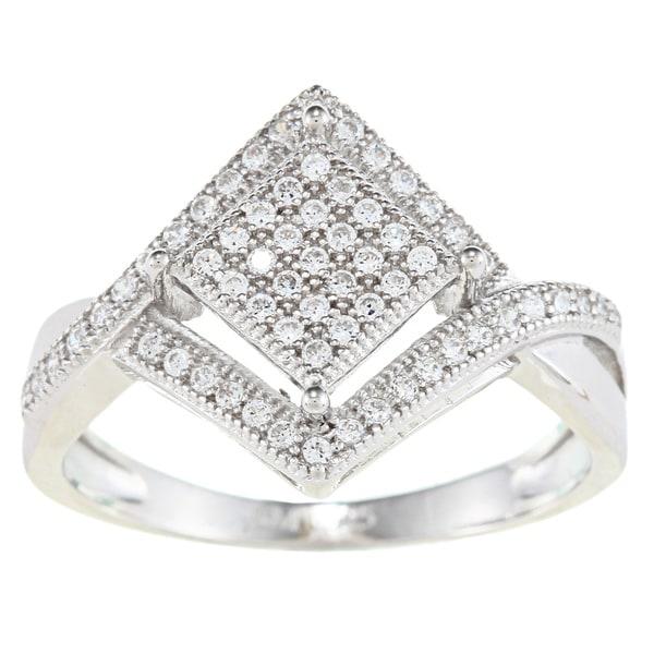 La Preciosa Sterling Silver Cubic Zirconia Diamond-shaped Ring