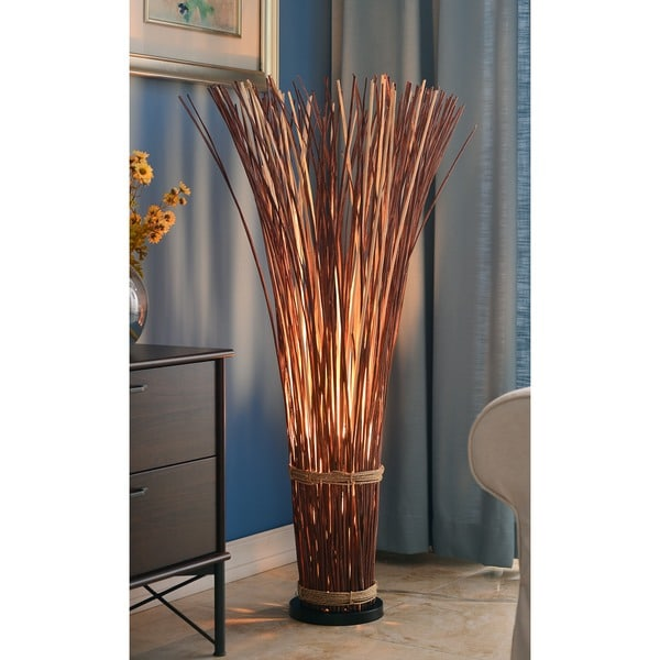 Design Craft Coastal Natural Reed 46 Inch Floor Lamp