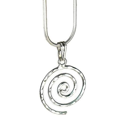 Handmade Jewelry by Dawn Hammered Swirl Sterling Silver Chain Necklace (USA)