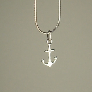Jewelry by Dawn Small Anchor Sterling Silver Snake Chain Necklace