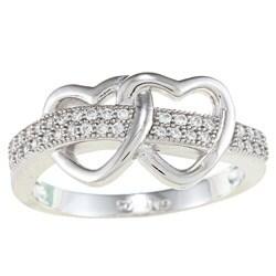 La Preciosa Sterling Silver Cubic Zirconia Double Open Heart Ring
