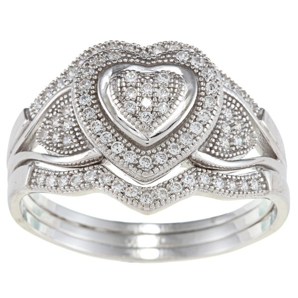 La Preciosa Sterling Silver Cubic Zirconia Wide Heart Ring Set