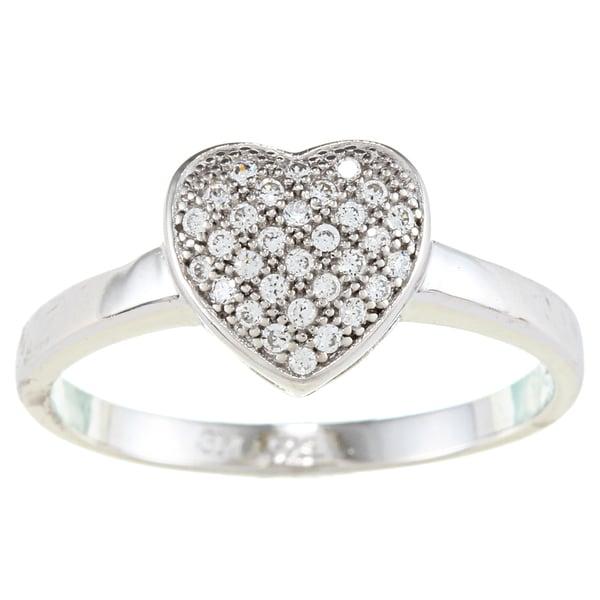 La Preciosa Sterling Silver Cubic Zirconia Heart Ring