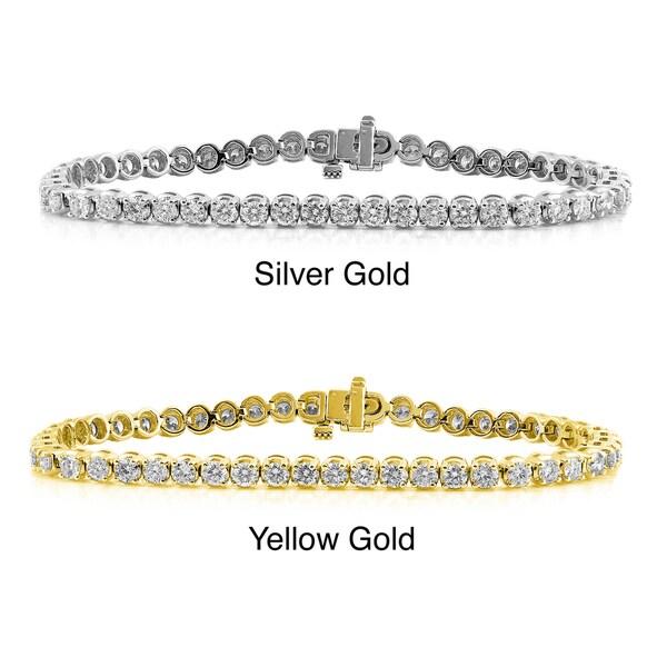Auriya 14k Gold 3ct TDW Diamond Tennis Bracelet (G-H, I2-I3)