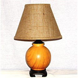 Light Oak Wood Grain Painted Ceramic Brown-Shade Table Lamp