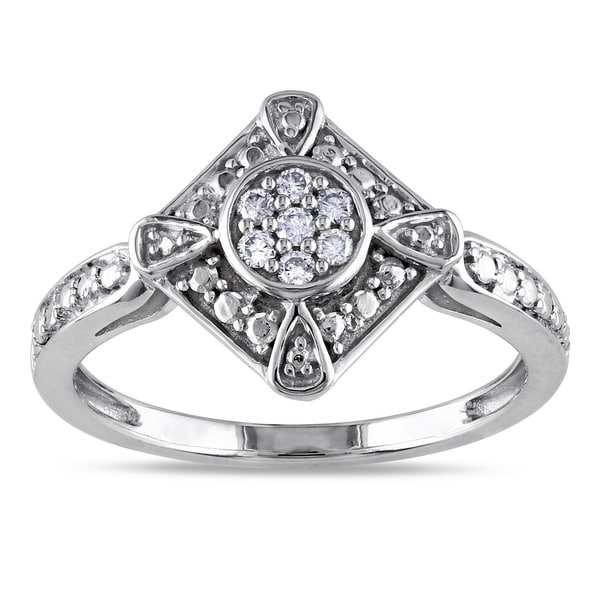 Miadora 10k White Gold 1/10ct TDW Diamond Fashion Ring (G-H, I1-I2)