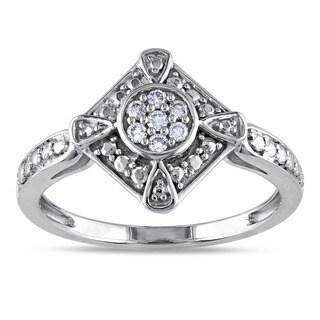 Miadora 10k White Gold 1/10ct TDW Diamond Fashion Ring (G-H, I1-I2)