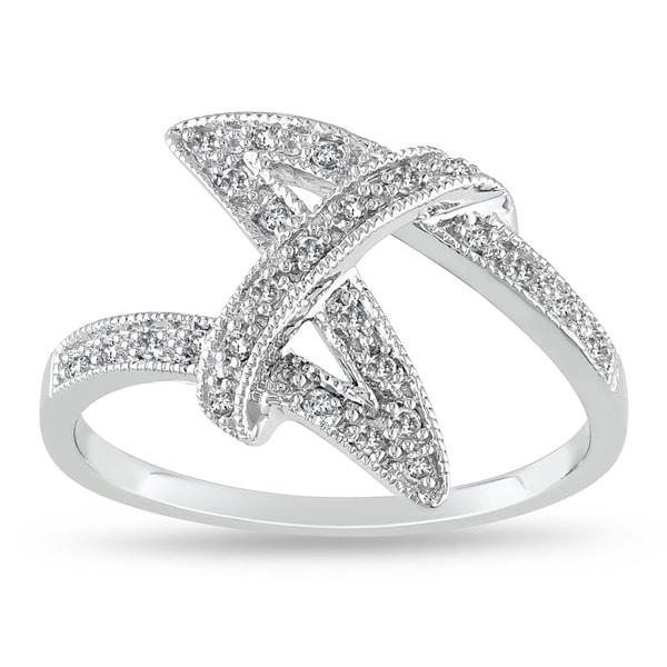 Miadora 10k White Gold 1/8ct TDW Diamond Fashion Ring