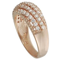 Journee Rose Gold-plated Silver White Cubic Zirconia Anniversary Ring - Thumbnail 1