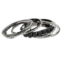 Journee Collection Silvertone Rhinestone and Acrylic Bangle Bracelet