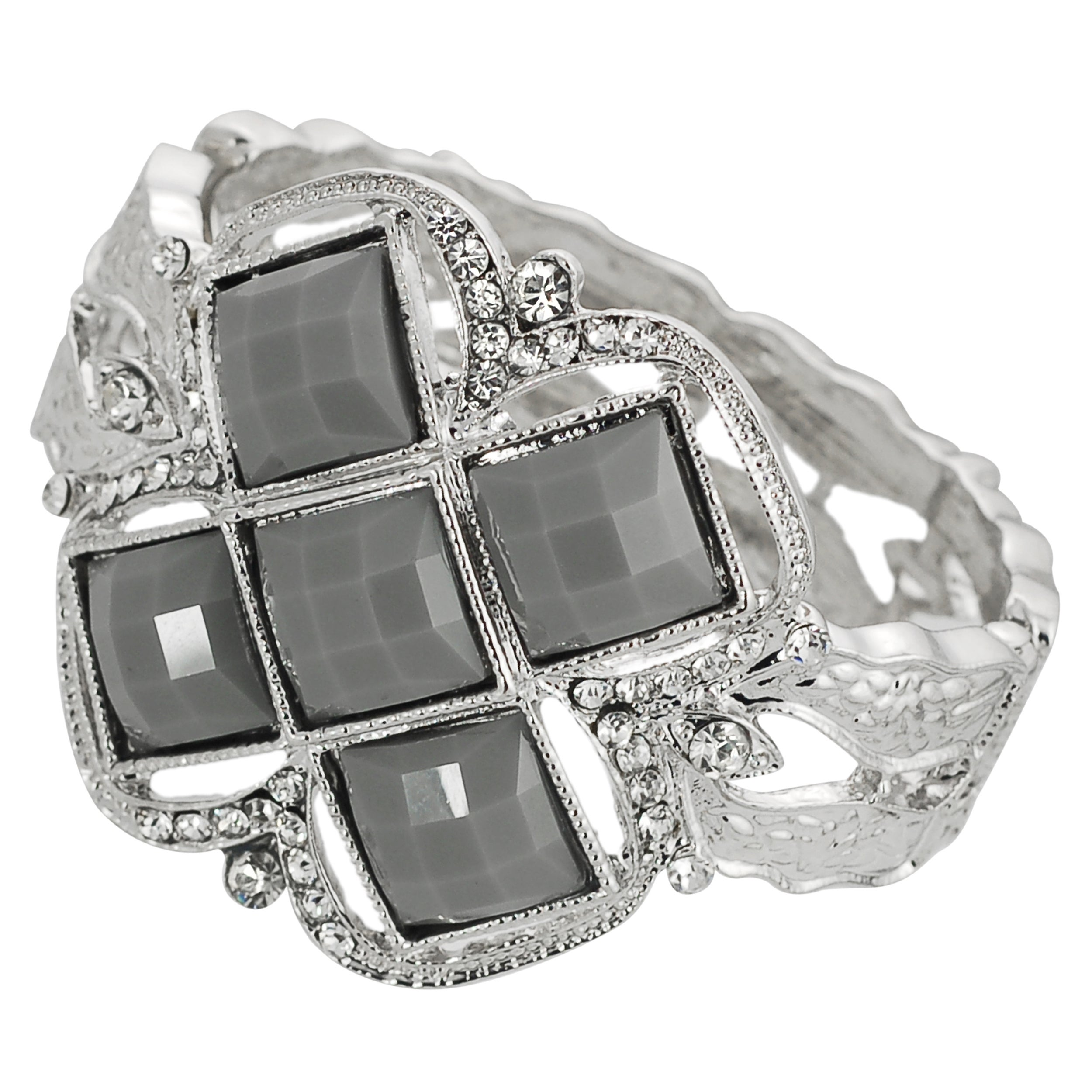 Journee Collection Silvertone Acrylic and Rhinestone Cuff Bracelet