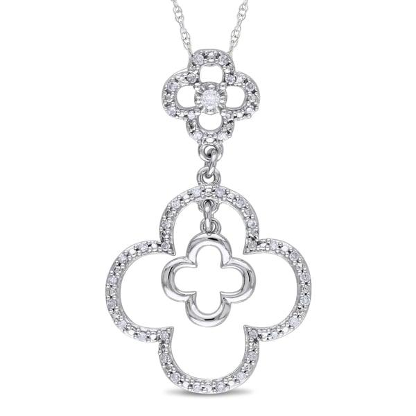 Miadora 10k White Gold 1/5ct TDW Diamond Flower Necklace