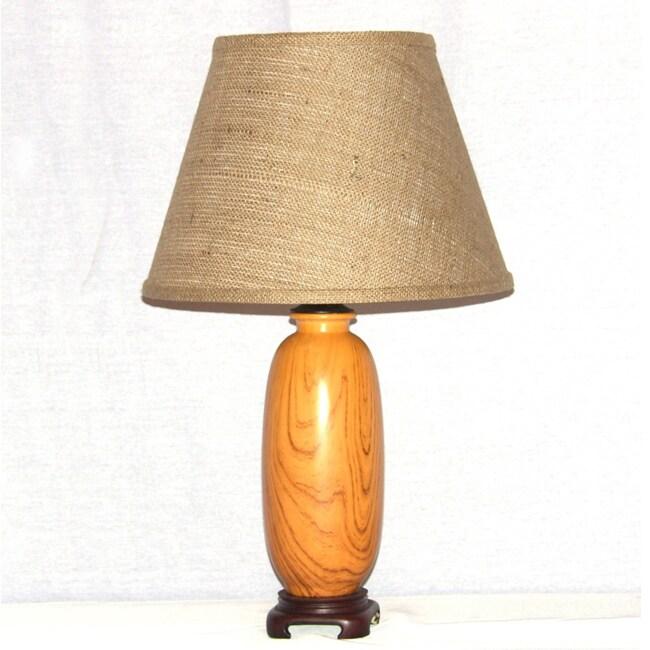Light Oak Wood Grain Painted Indoor Ceramic Table Lamp