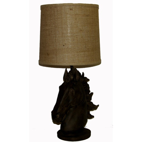 Horse Head Table Lamp in Dark Brown with Tan Wash