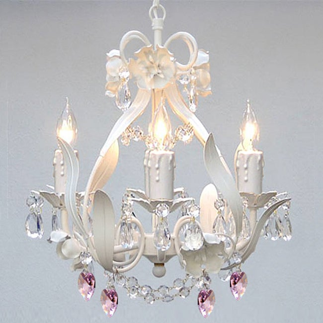 Gallery Wrought Iron and Crystal Mini 4-light Chandelier