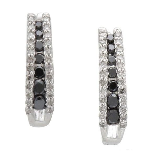 Unending Love Sterling Silver 1/2ct TDW Black/ Blue and White Diamond Hoop Earring (I-J, I2-I3)