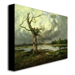 Leon Richet 'French River Landscape' Unframed Canvas Art - Thumbnail 1