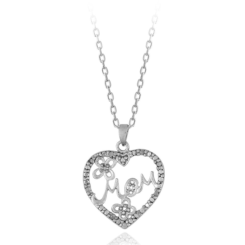 DB Designs Sterling Silver 1/10ct TDW Diamond 'MOM' Flower Heart Necklace